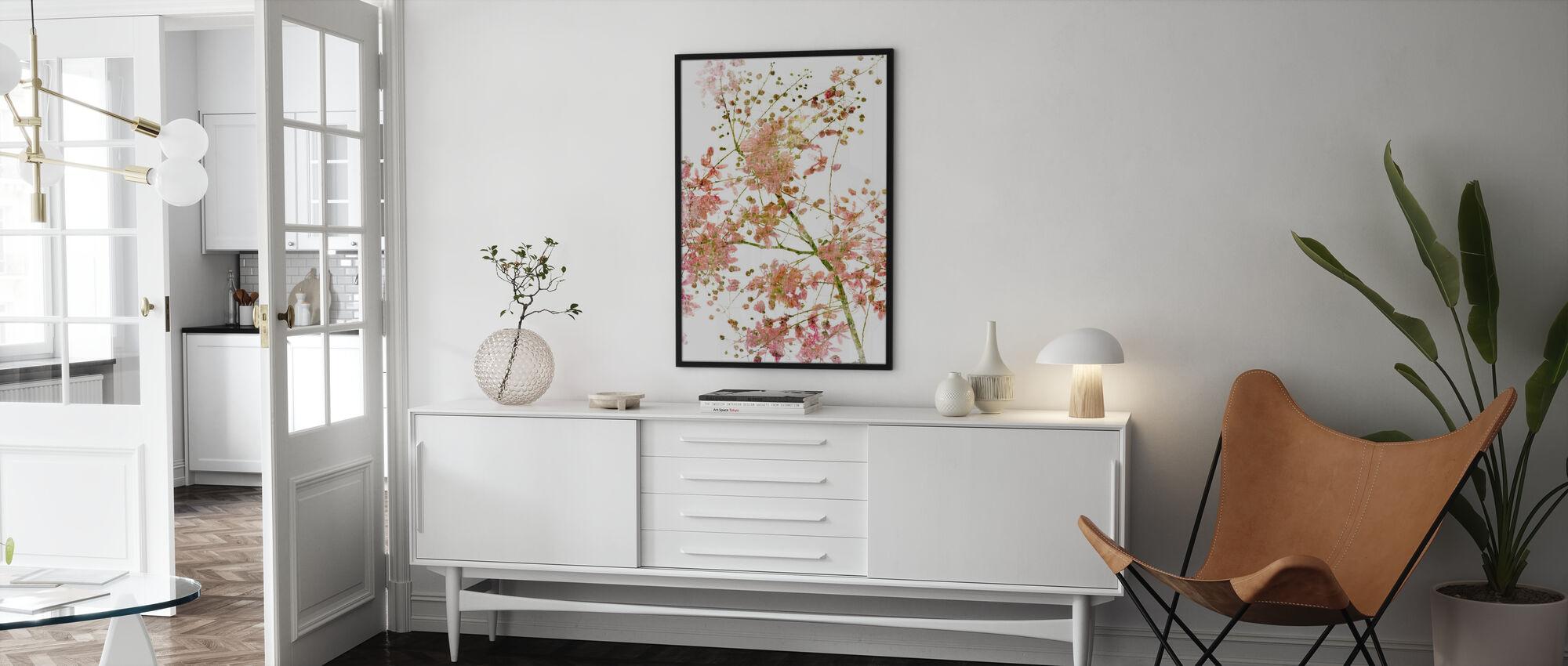 Vaaleanpunainen kukka - Kehystetty kuva - Olohuone