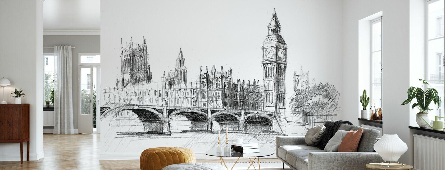 Big Ben in Black Lead - Wallpaper - Living Room