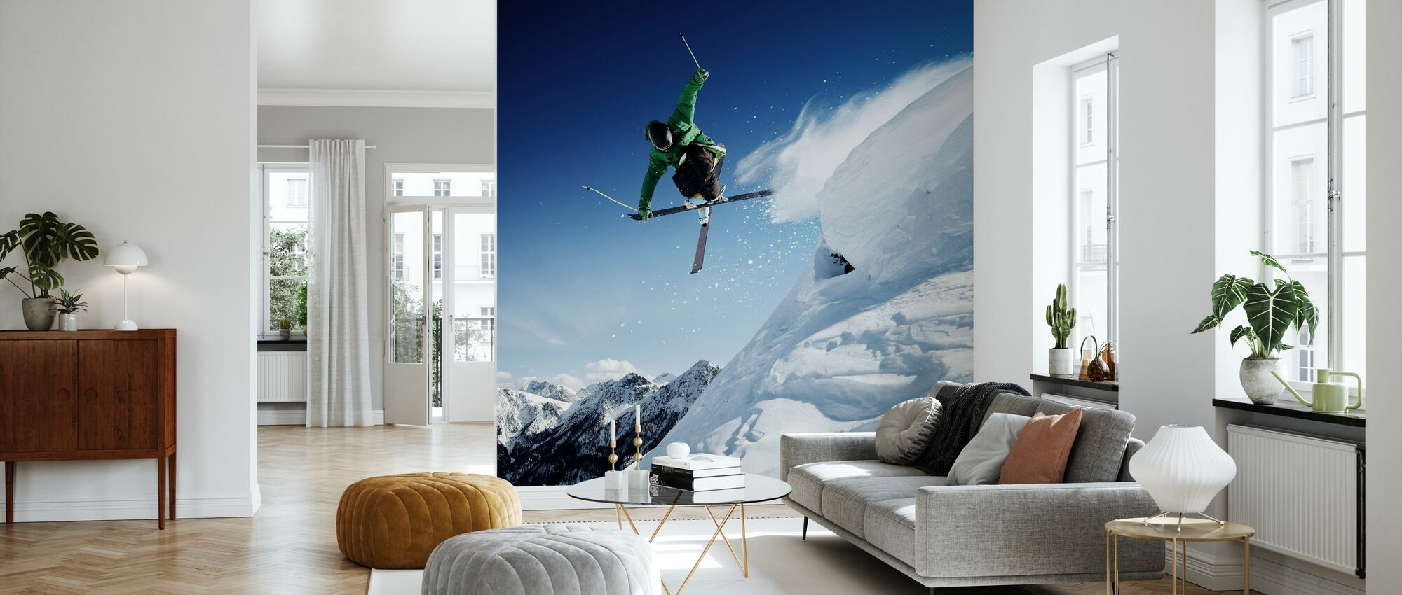 Springender Skifahrer - Tapete - Wohnzimmer