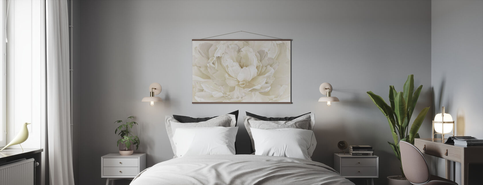 Elfenbein Weiß Doppel Tulpe - Poster - Schlafzimmer