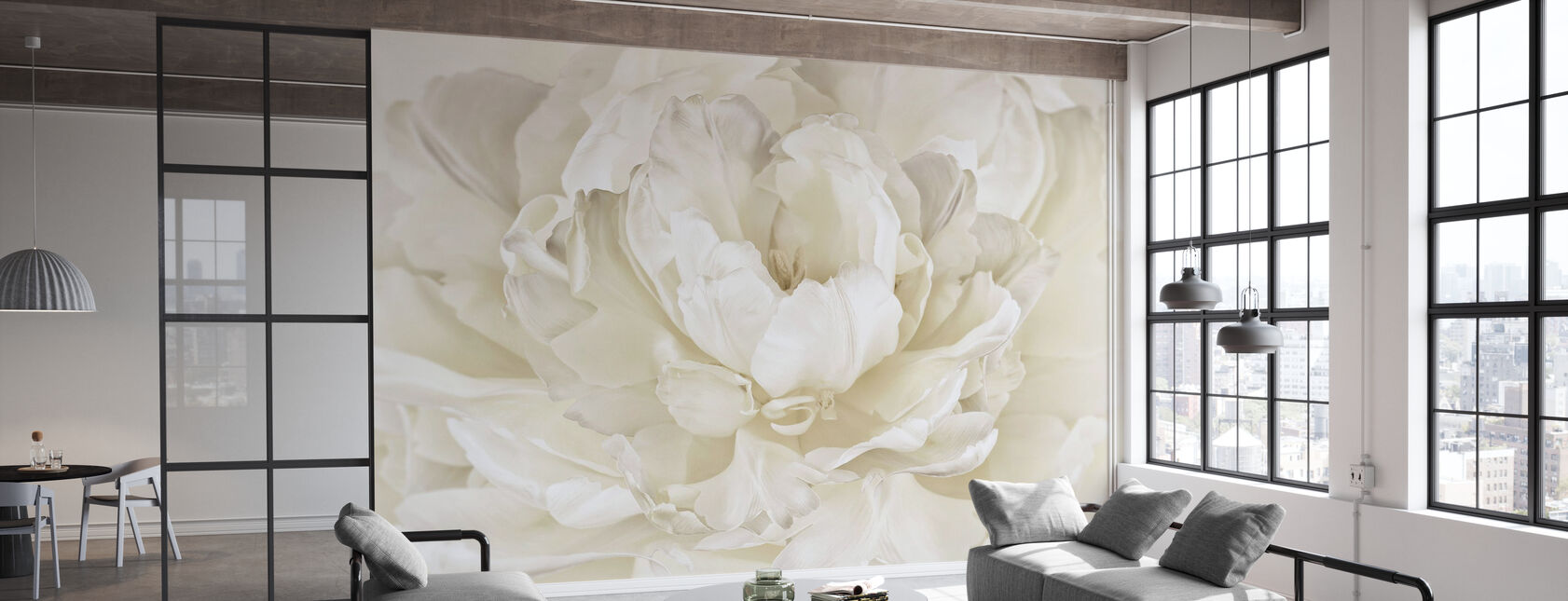 Ivory White Double Tulip - Wallpaper - Office