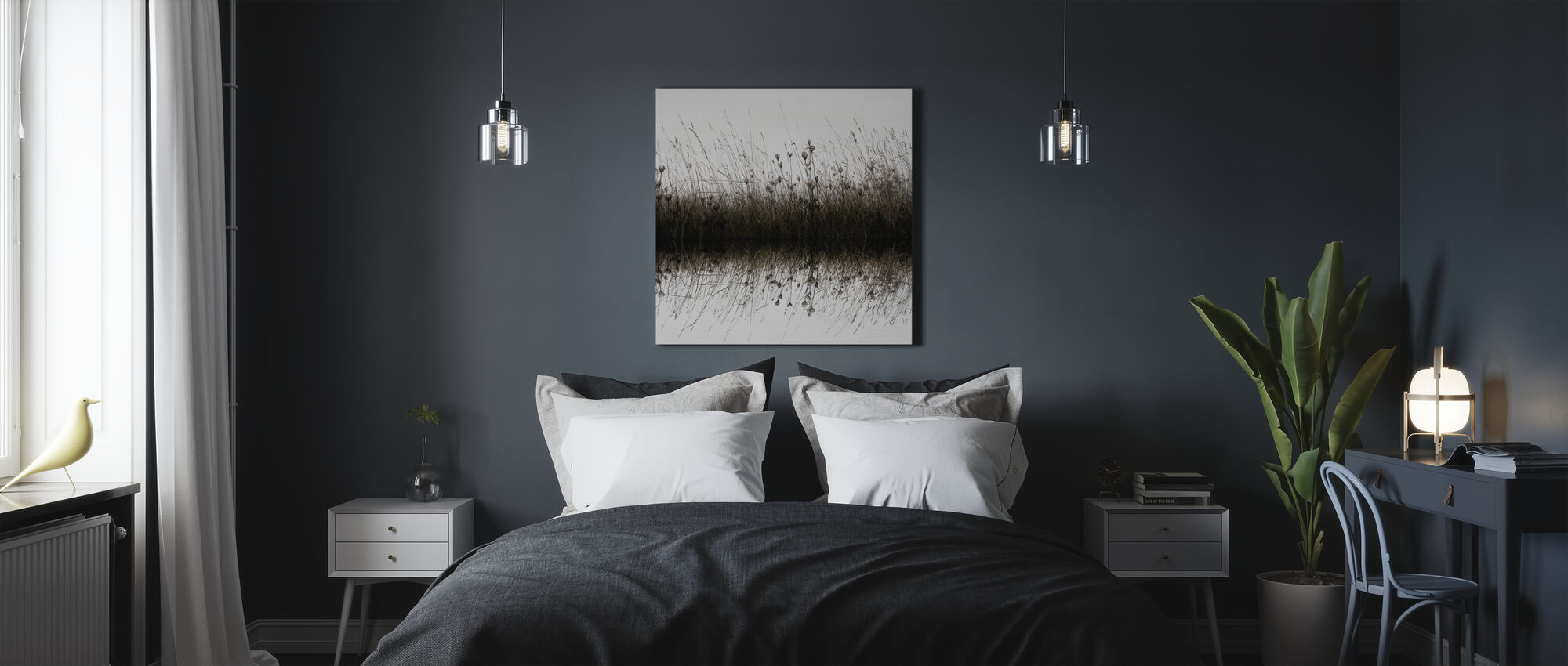 Vatten Reflektion Vildblommor - Canvastavla - Sovrum