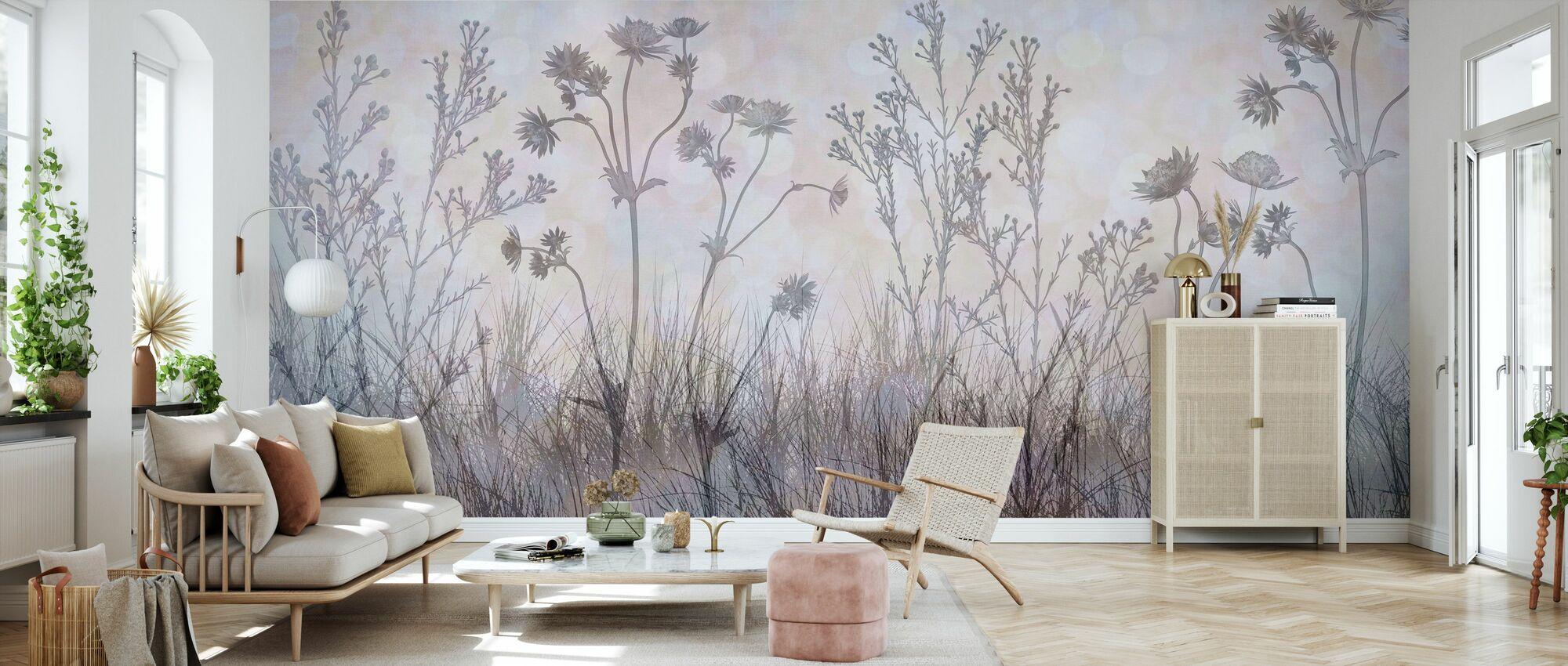 Vildblommor Foder Leden - Silver Lavendel - Tapet - Vardagsrum