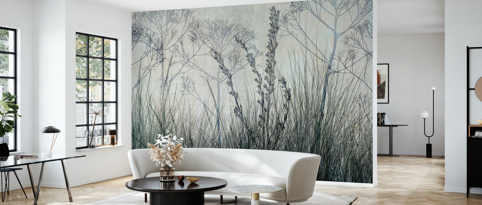 Wildflowers Lining the Trail - Bluegrey - Wallpaper - Living Room