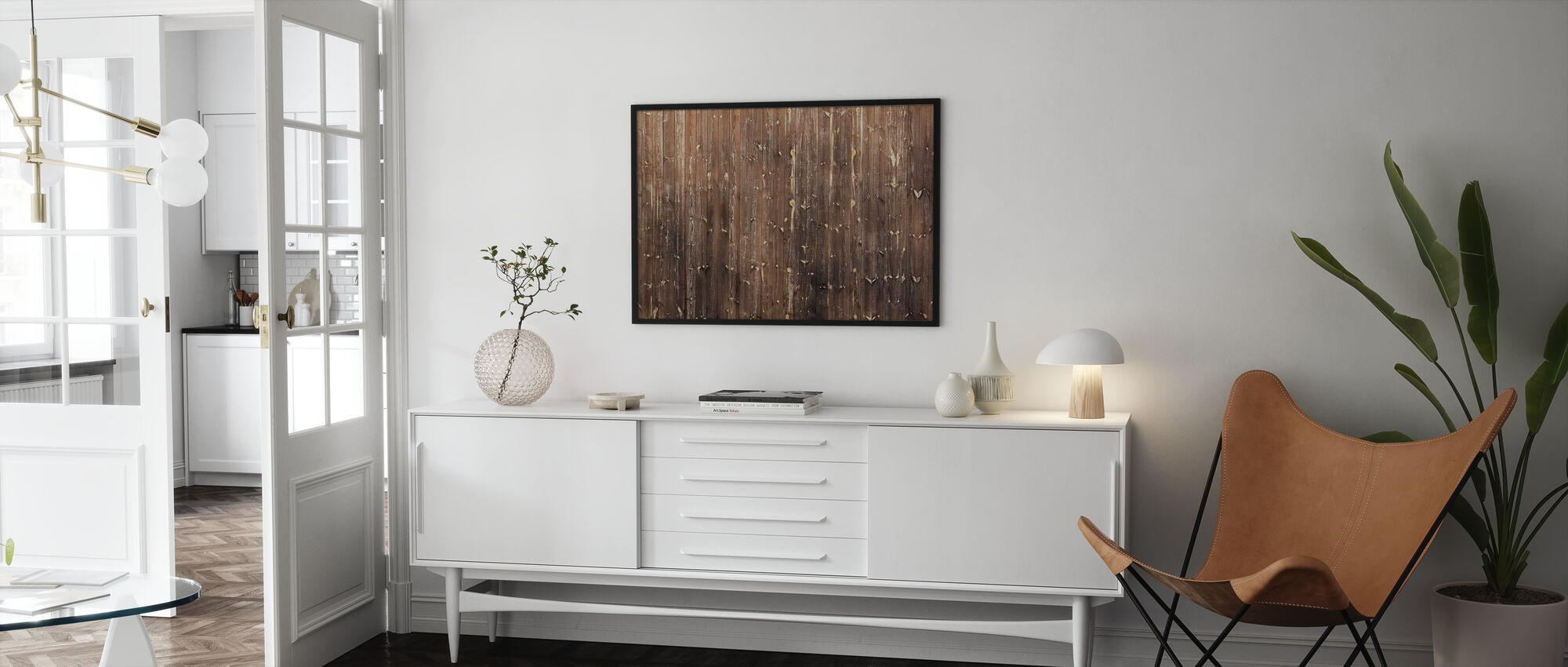 Brown Wooden Wall - Framed print - Living Room