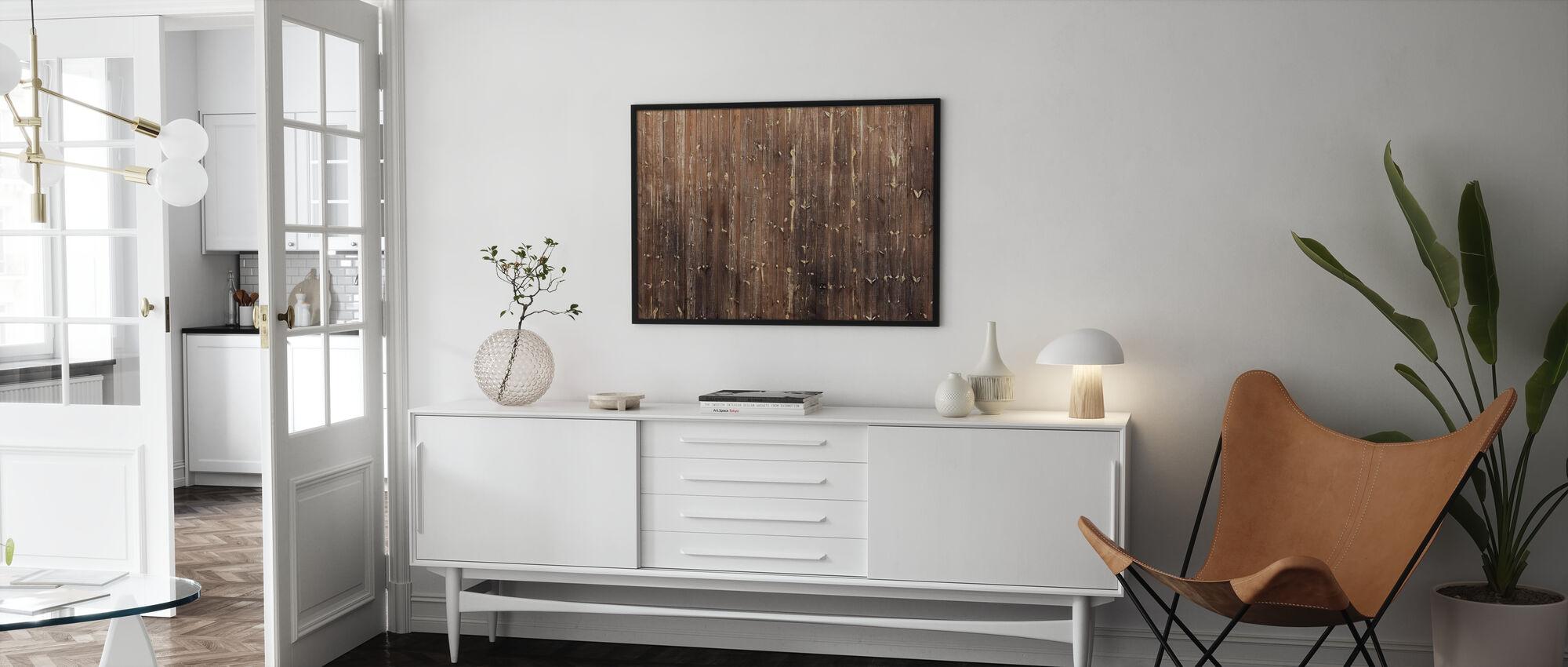 Braune Holzwand - Gerahmtes bild - Wohnzimmer