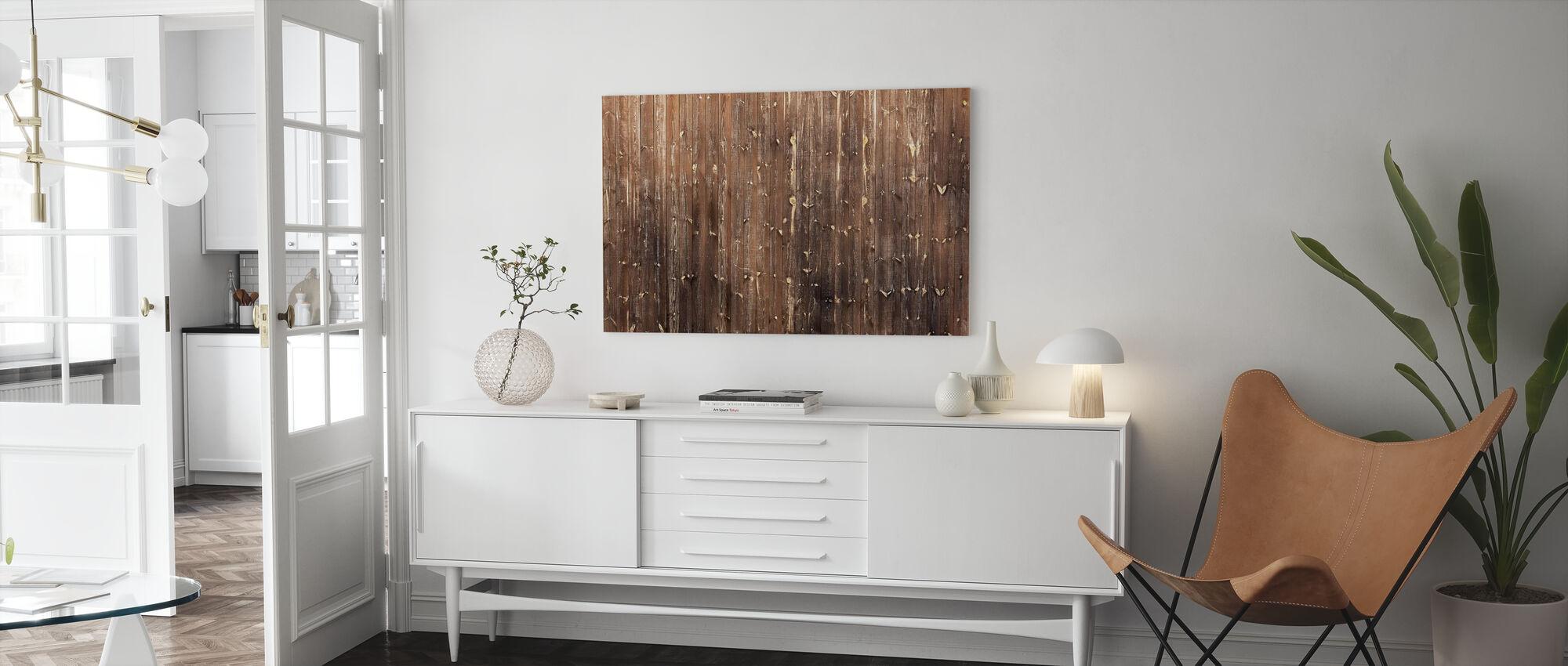 Parete in legno marrone - Stampa su tela - Salotto