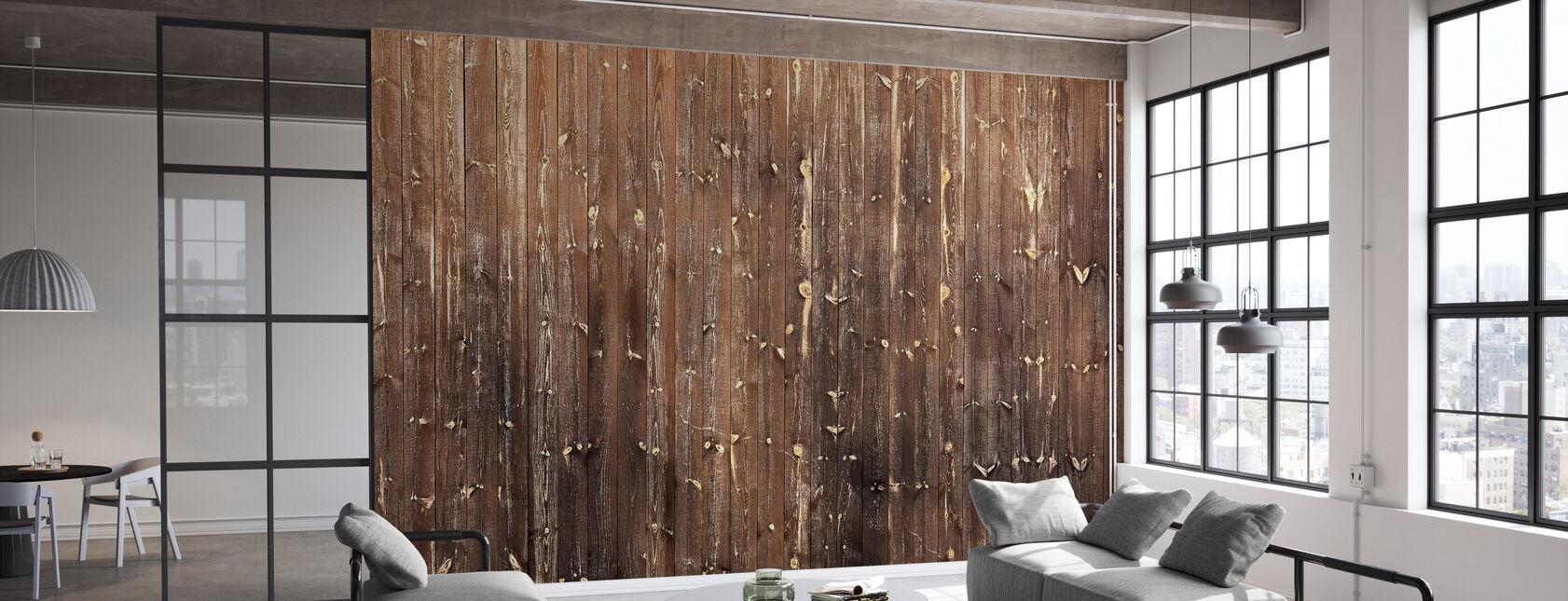 Ruskea puinen seinä - Tapetti - Toimisto