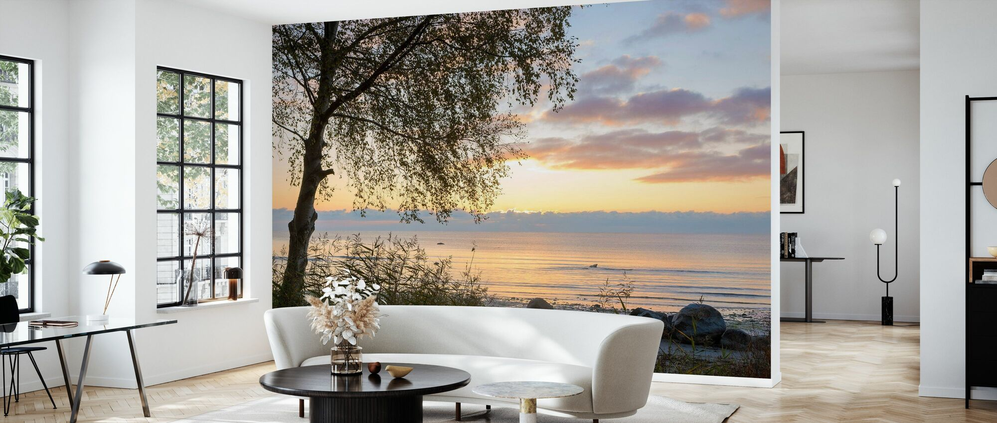 Träd vid solnedgången - Gotland - Tapet - Vardagsrum