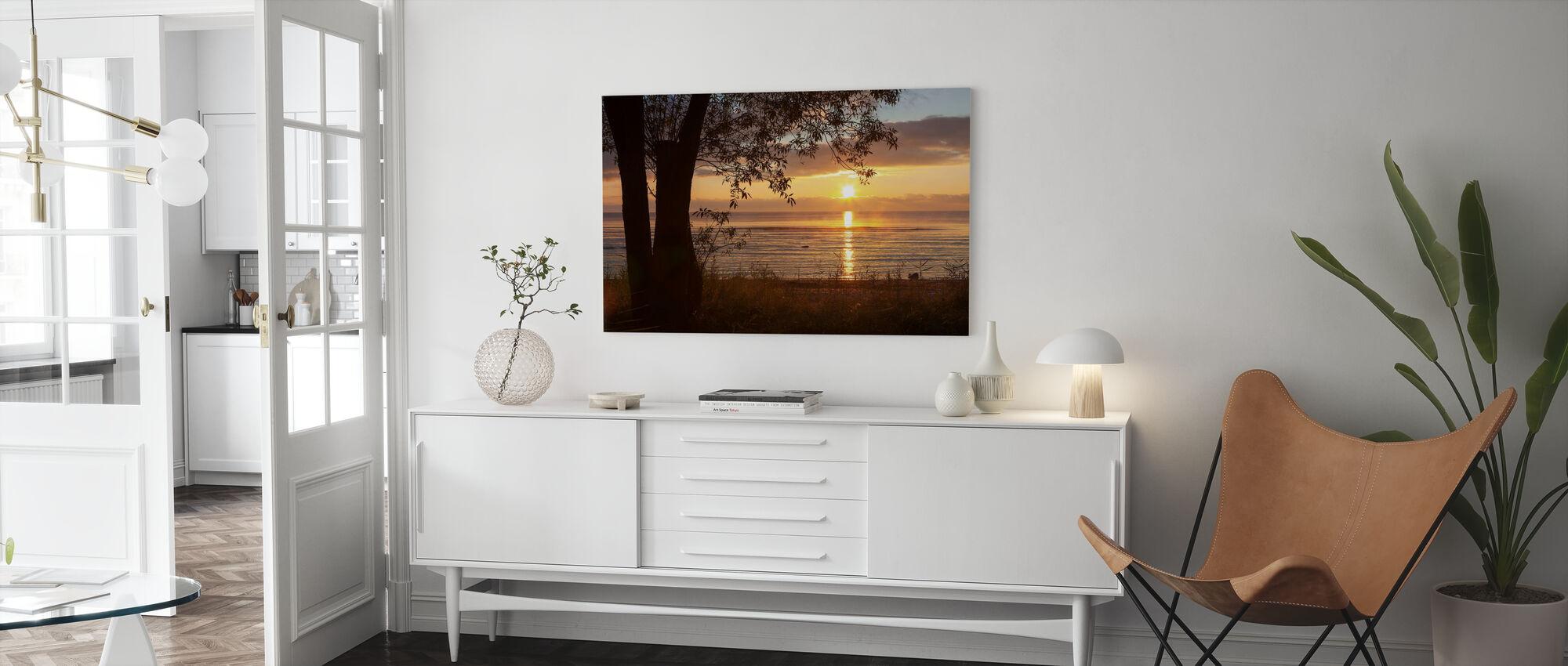 Yellow Sun over the Gotland Sea - Canvas print - Living Room