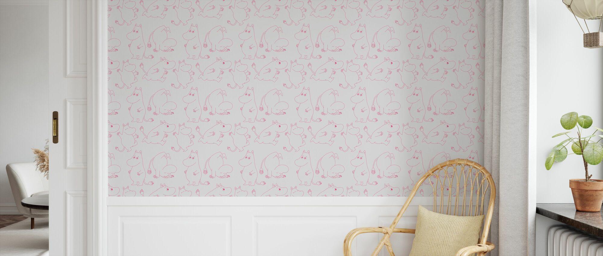 Moomin - Licht Grijs & Roze - Behang - Kinderkamer