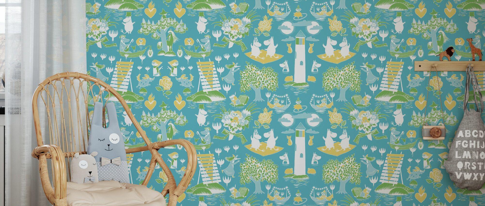 Muumi Retro Pattern - Sininen & Vihreä - Tapetti - Lastenhuone