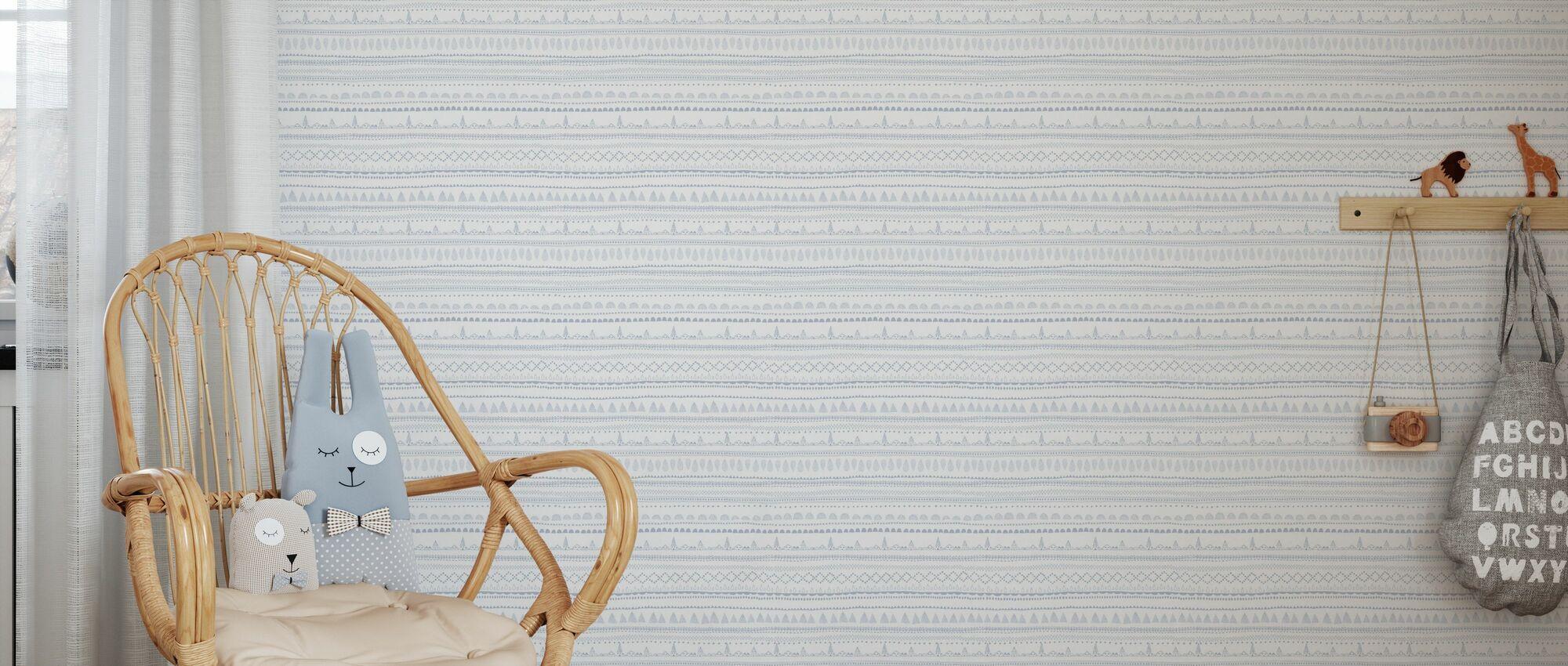 Nordic Folk Blueberry Milk - Wallpaper - Kids Room