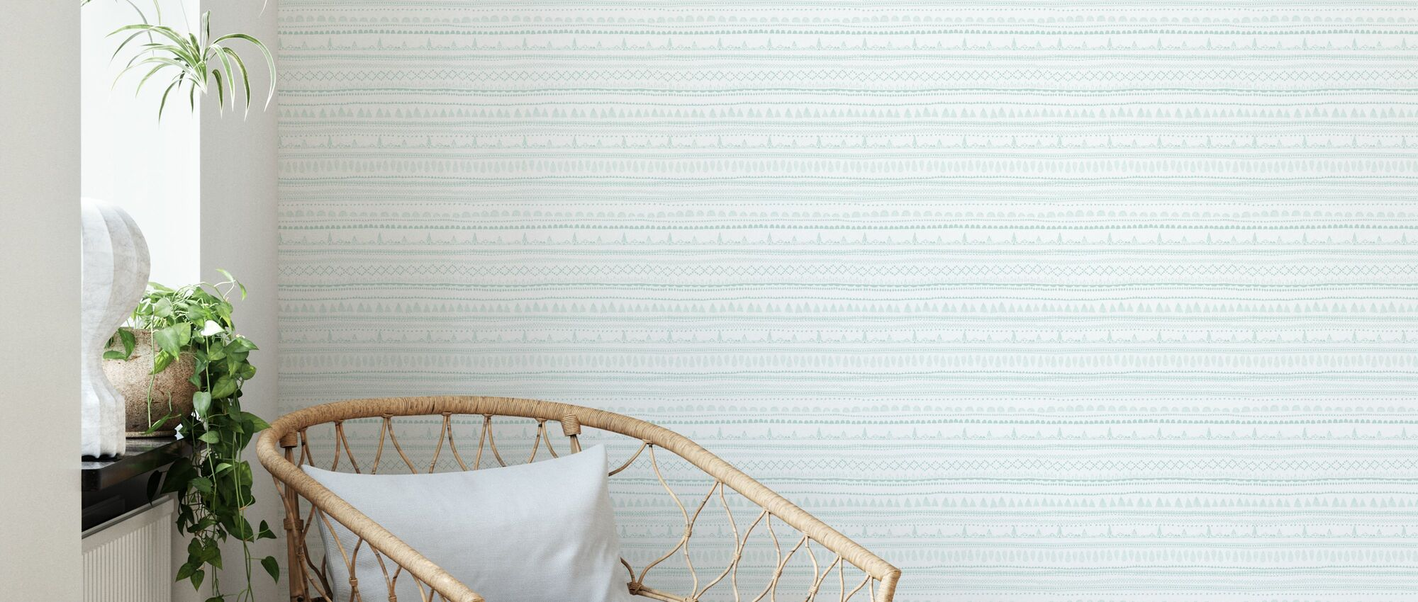 Nordic Folk Mint - Wallpaper - Living Room