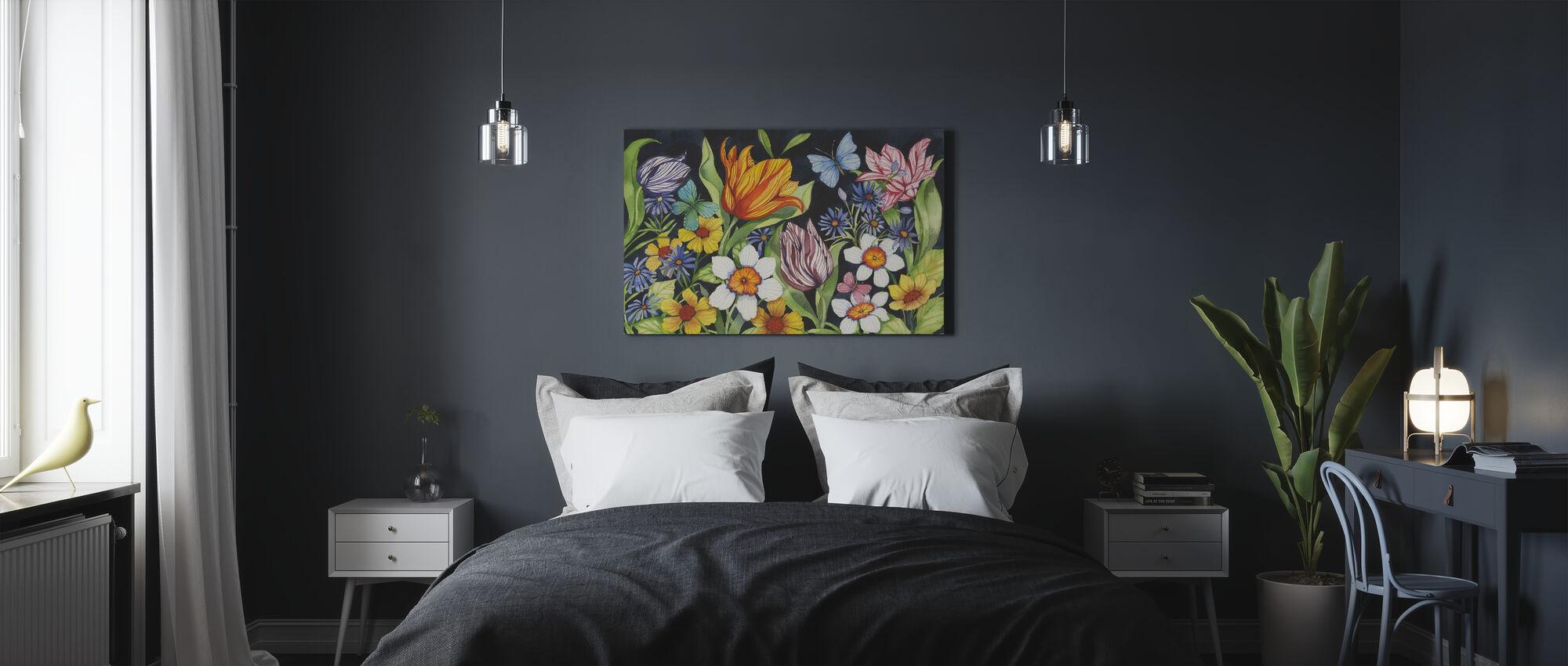 Floral Noir - Leinwandbild - Schlafzimmer