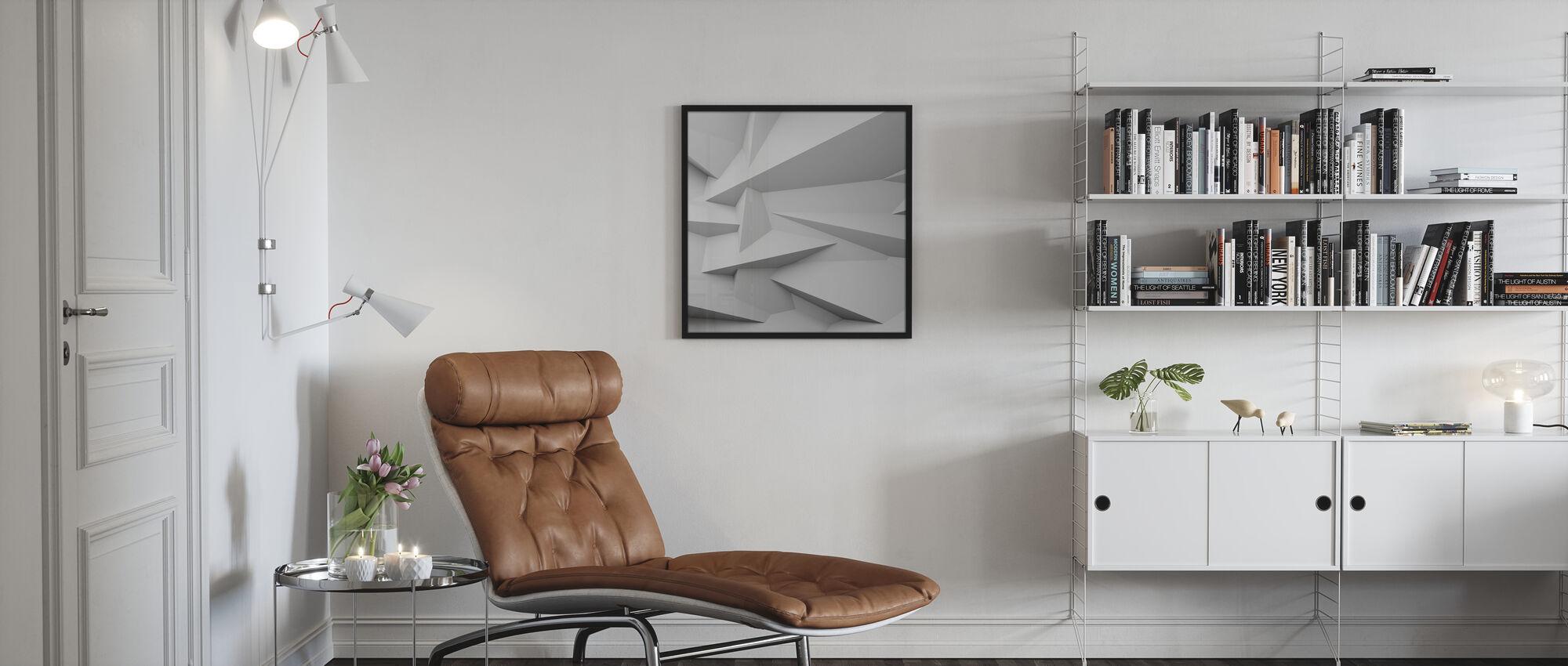 Facetteret 3D væg - Plakat - Stue