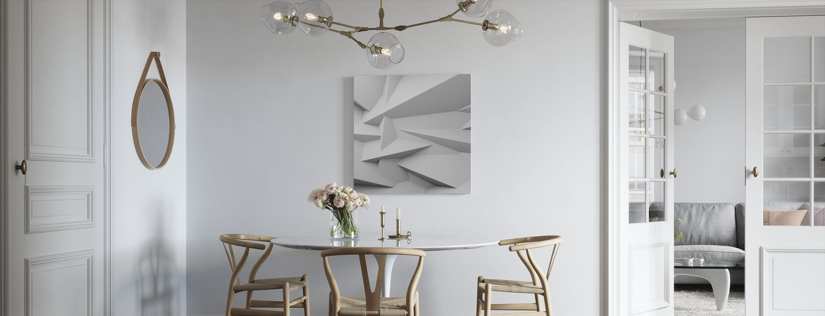 Faceted 3D Wall - Canvas print - Kitchen