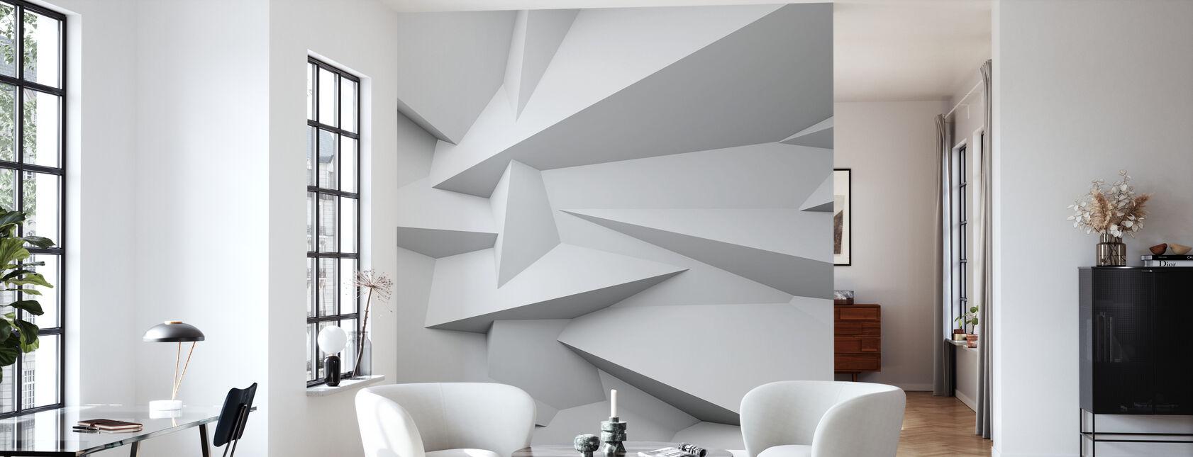 3D muur met facetten - Behang - Woonkamer