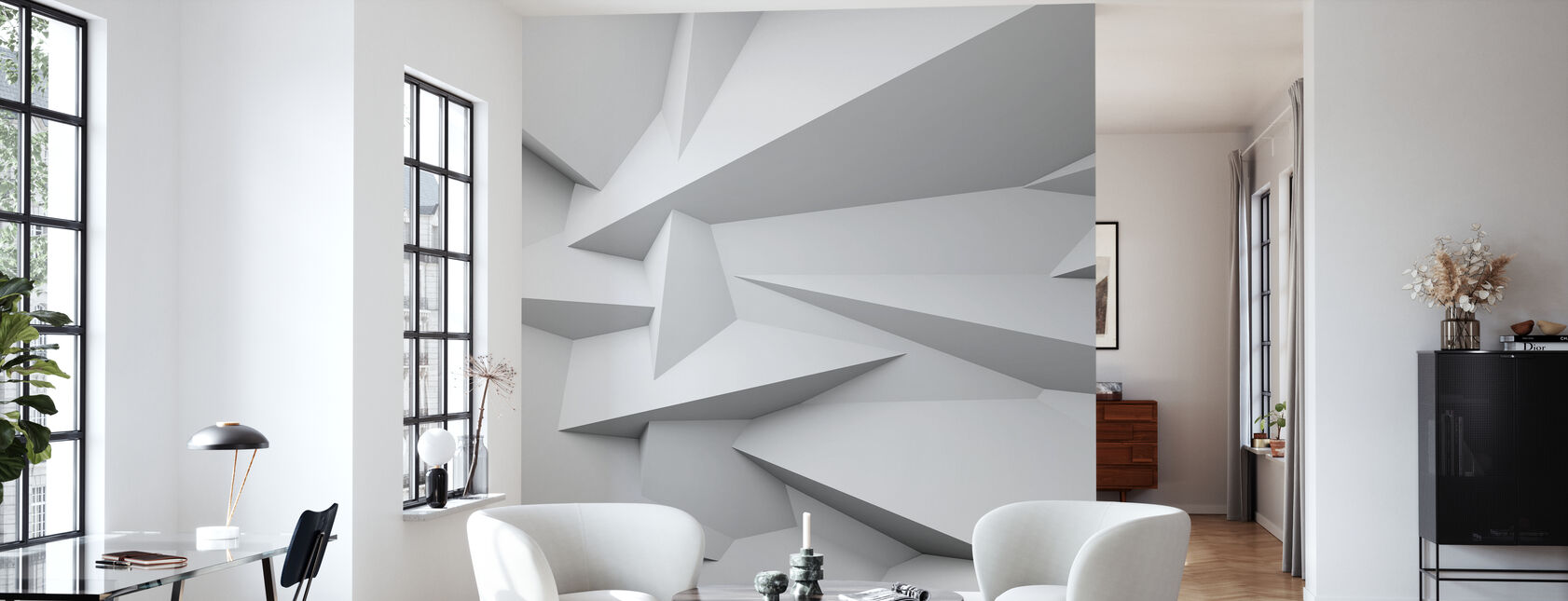 Fasetterad 3D-vägg - Tapet - Vardagsrum