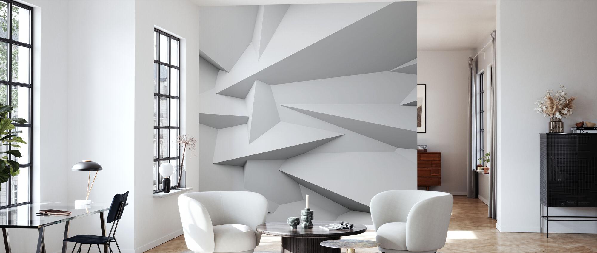 Fasettert 3D-vegg - Tapet - Stue
