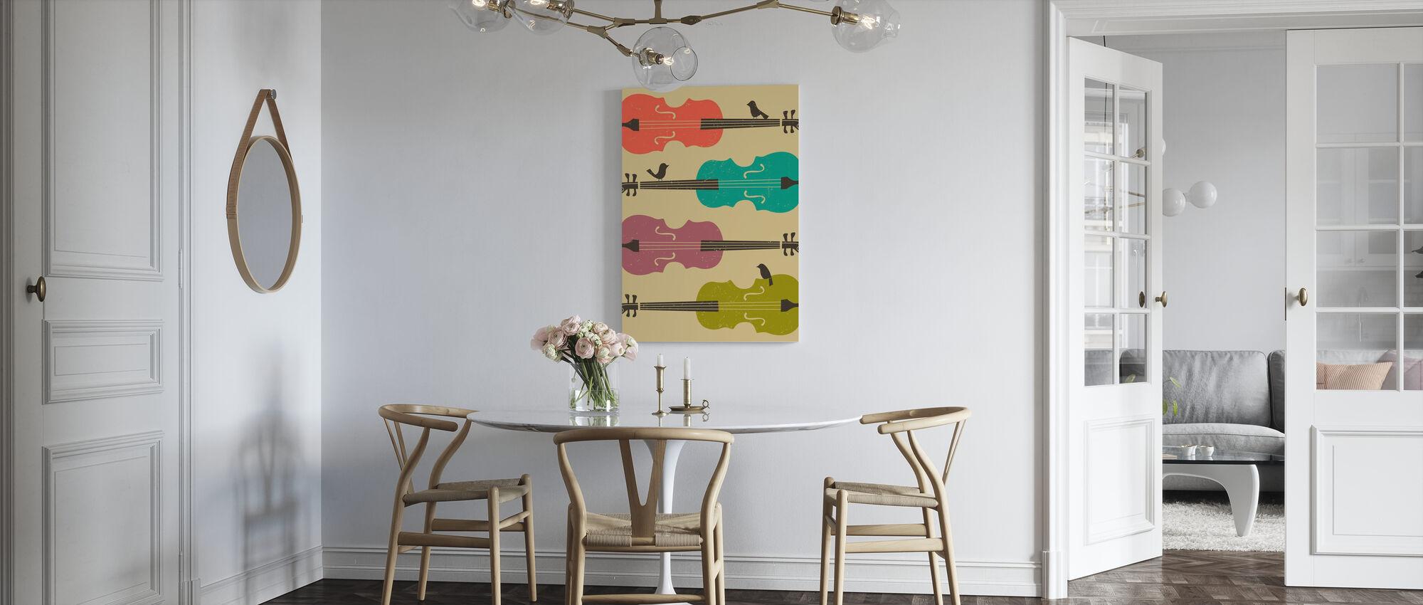 Vogels op een cello snaar - Canvas print - Keuken