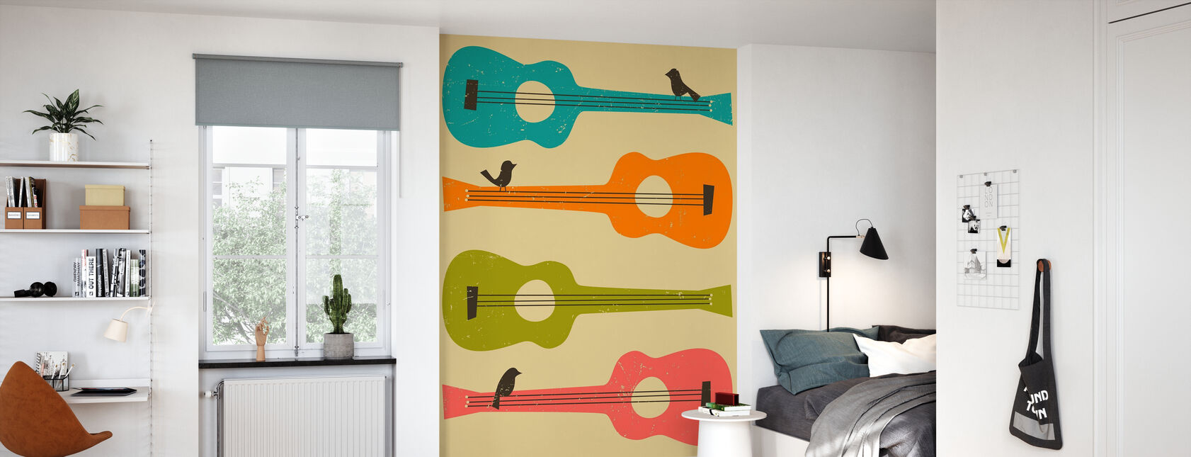 Birds on a Guitar - Wallpaper - Kids Room