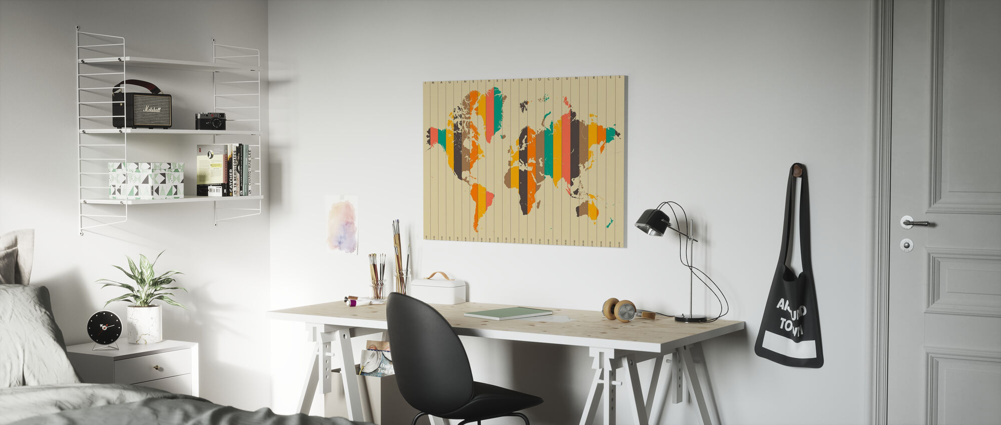 Imagine Theres No Countries - Beige - Canvas print - Kids Room