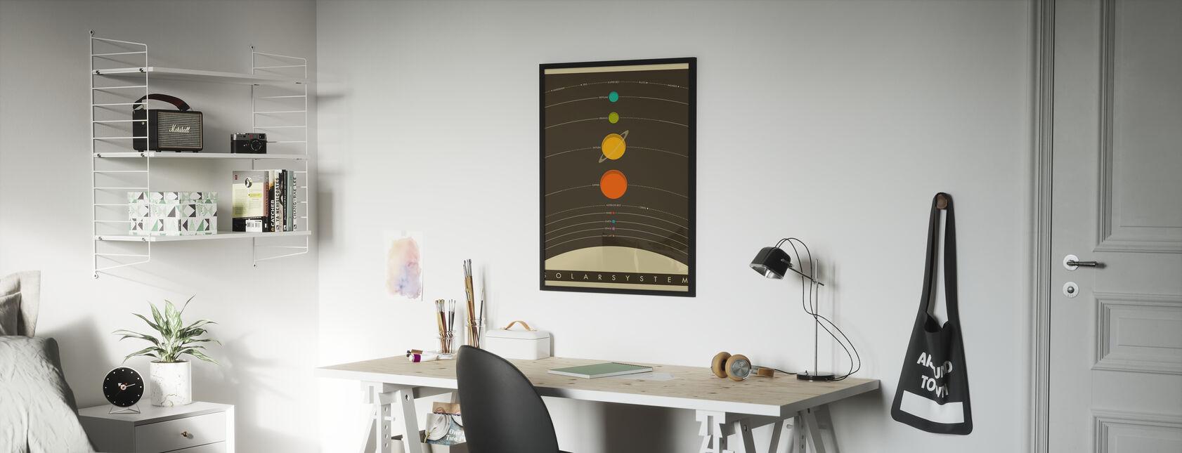 Solsystem - Brun - Plakat - Barnerom