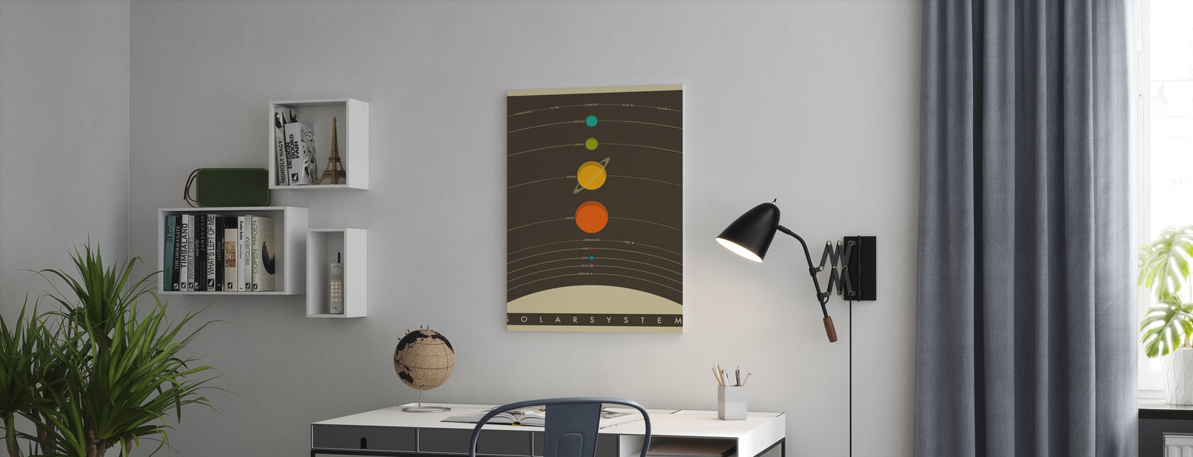 Aurinkokunta - Ruskea - Canvastaulu - Toimisto