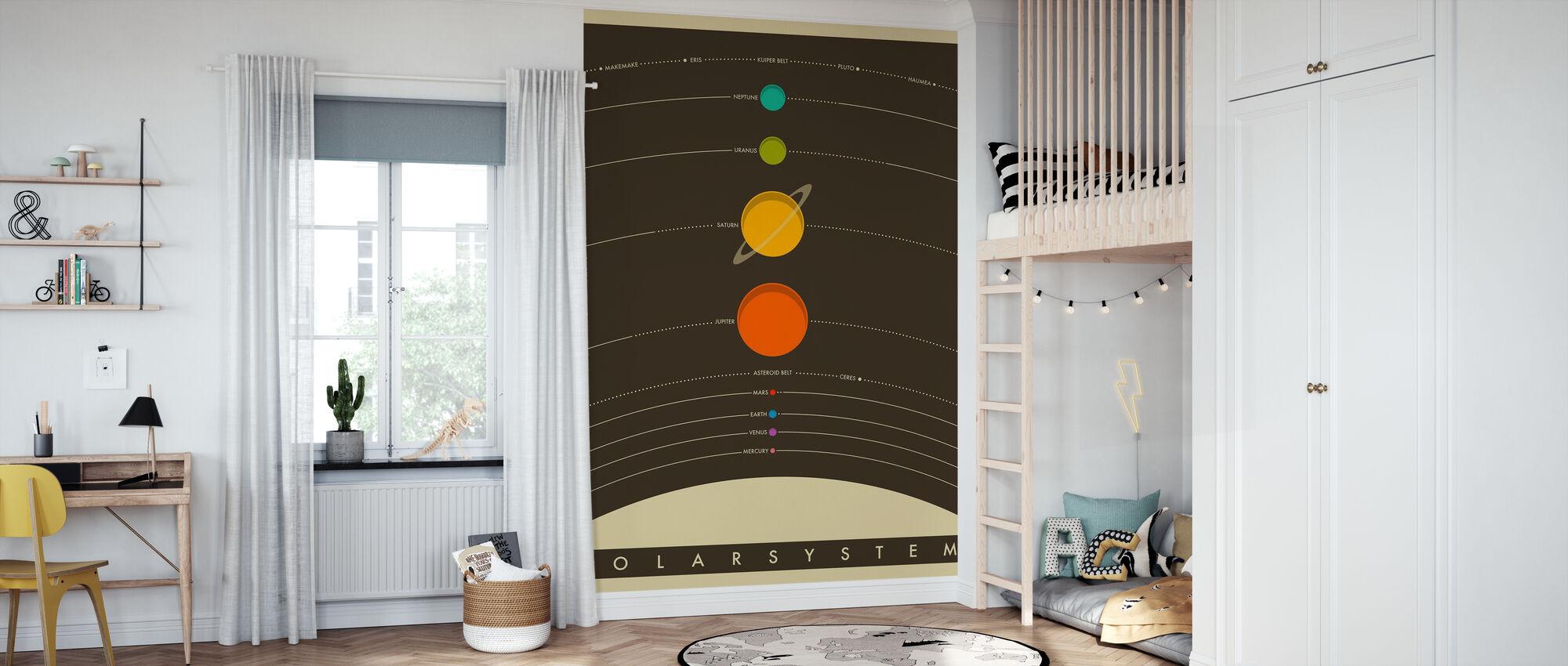 Solsystem - Brun - Tapet - Børneværelse