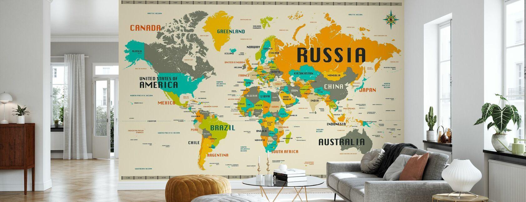 Verdenskort Udforsk - Tapet - Stue