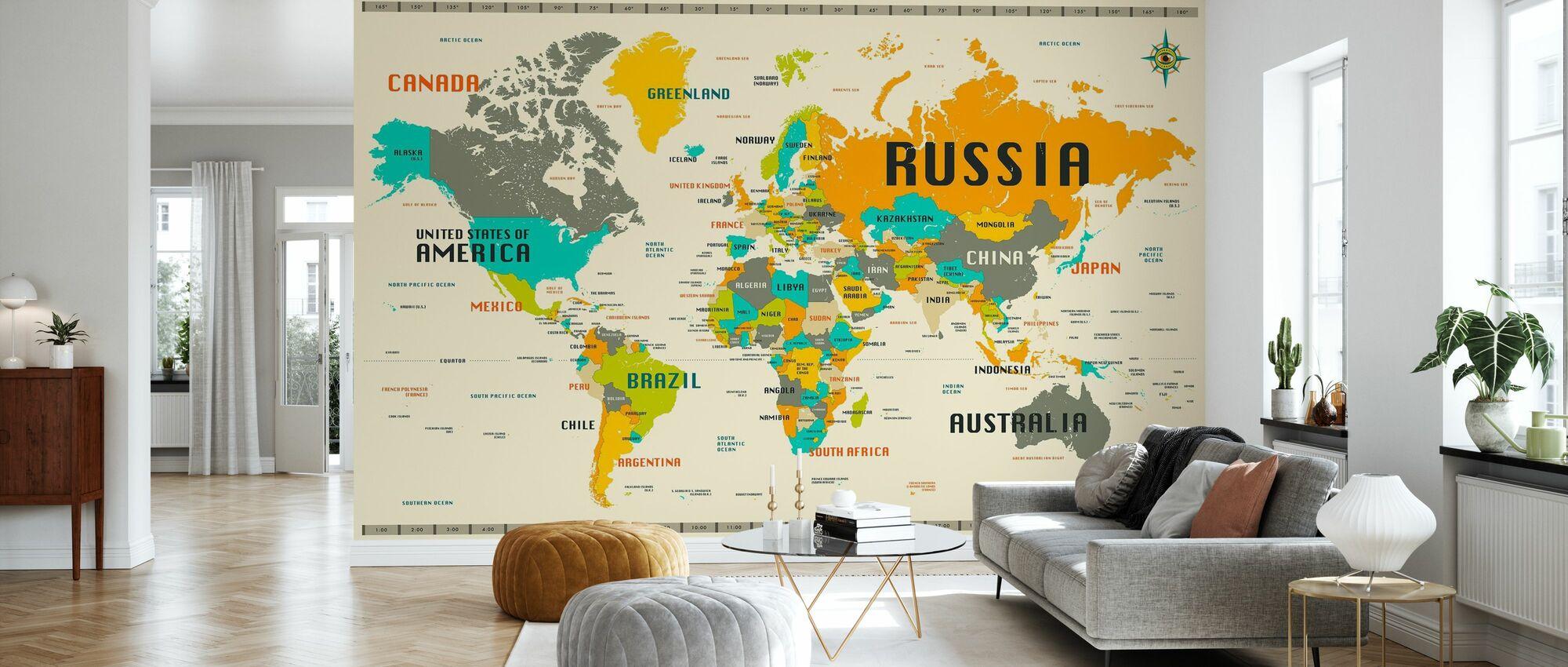World Map Explore - Wallpaper - Living Room