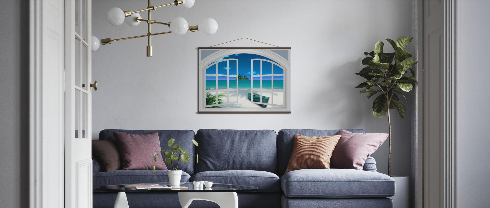 Utsikt over stranden gjennom vinduet - Plakat - Stue