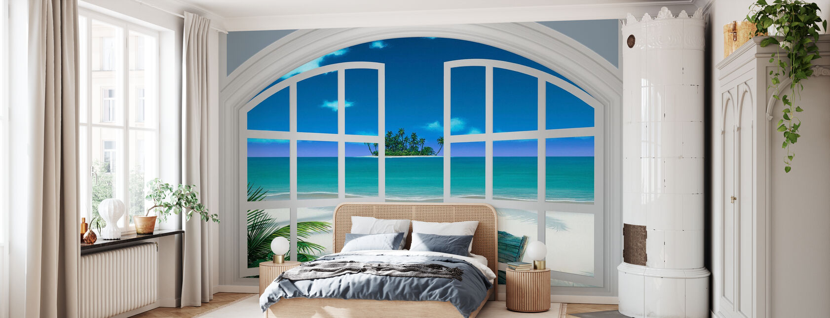 Blick auf den Strand durch Fenster - Tapete - Schlafzimmer