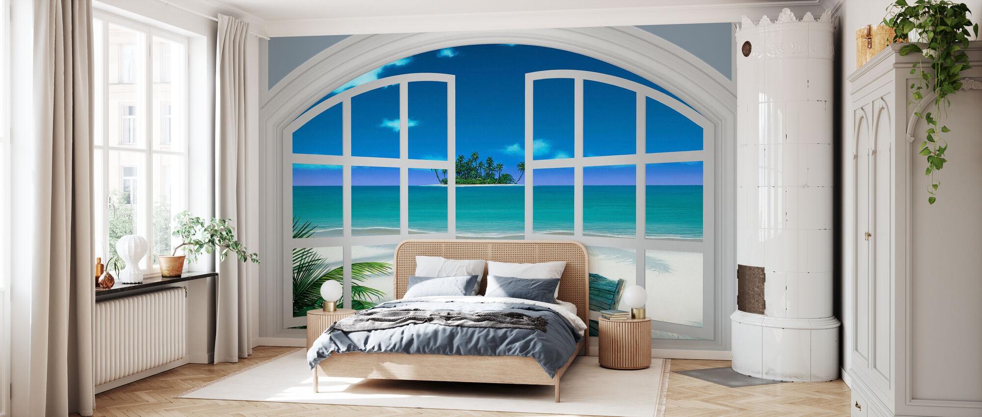 Rantalanäkymä ikkunan läpi - Tapetti - Makuuhuone
