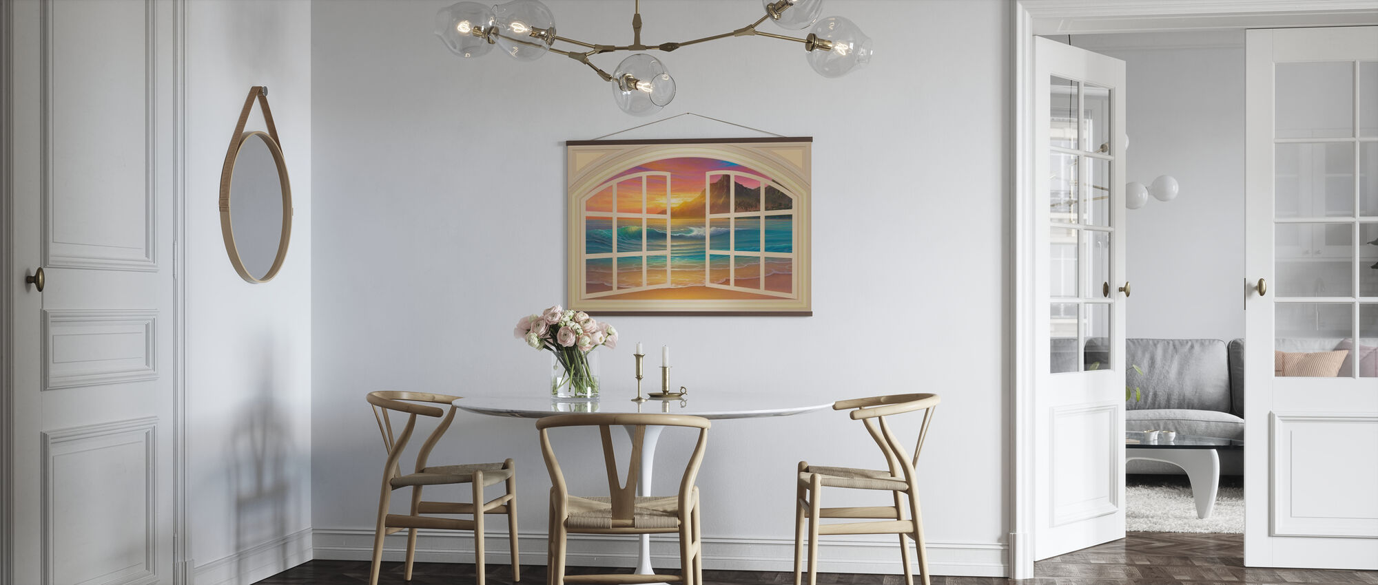 Golden solnedgang gjennom vinduet - Plakat - Kjøkken