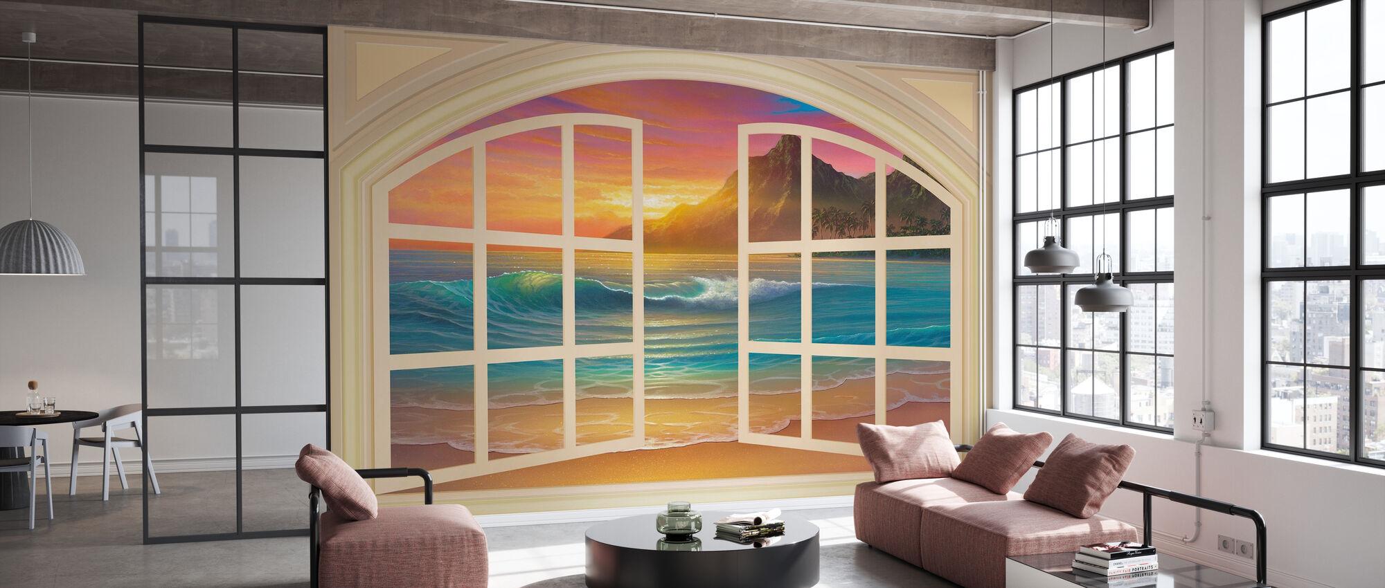 Golden Sunset genom fönster - Tapet - Kontor