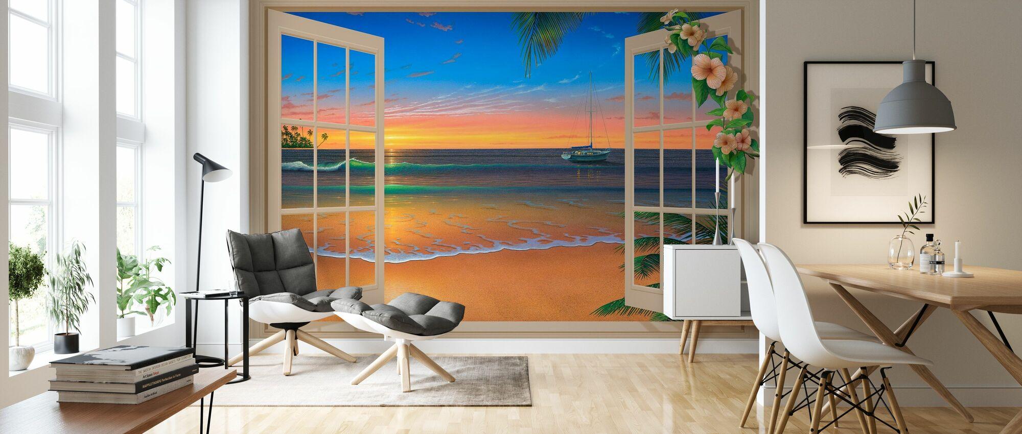 Solnedgang gjennom vinduet med blomster - Tapet - Stue