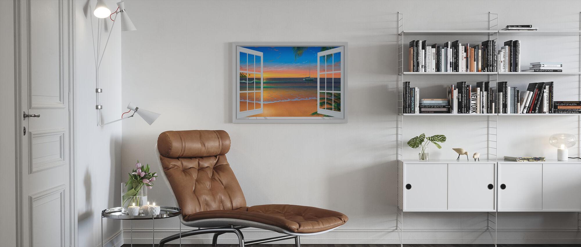 Solnedgång genom fönster - Canvastavla - Vardagsrum