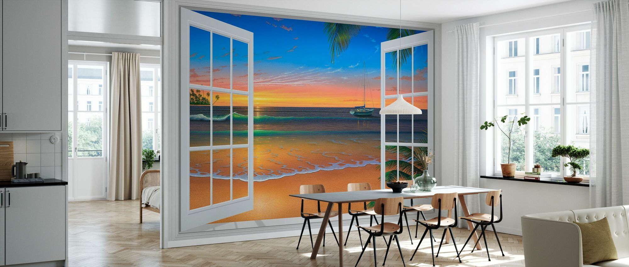 Sunset Through Window - Wallpaper - Kitchen