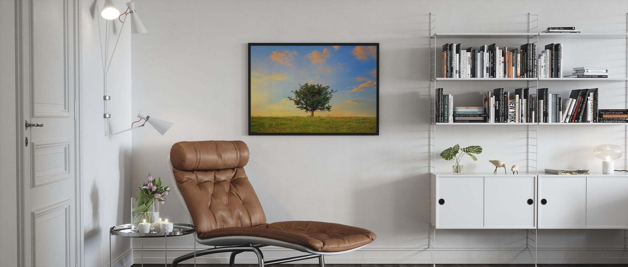 Hawthorn Tree and Golden Clouds - Poster - Living Room