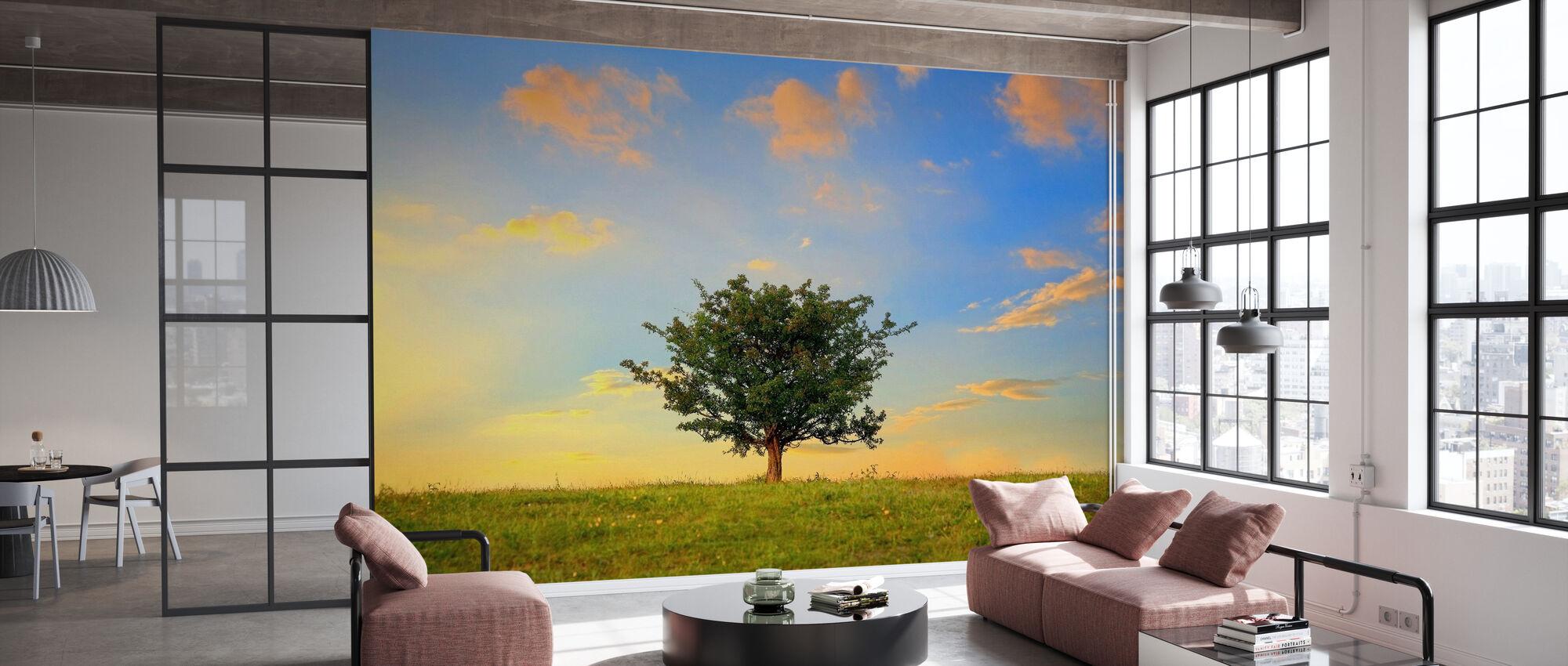 Hawthorn Tree ja kultaiset pilvet - Tapetti - Toimisto