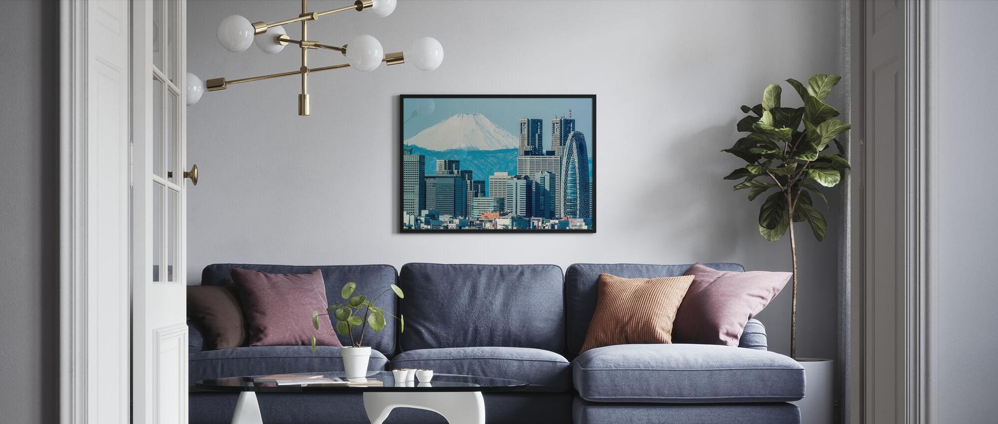 Fuji over Shinjuku - Framed print - Living Room