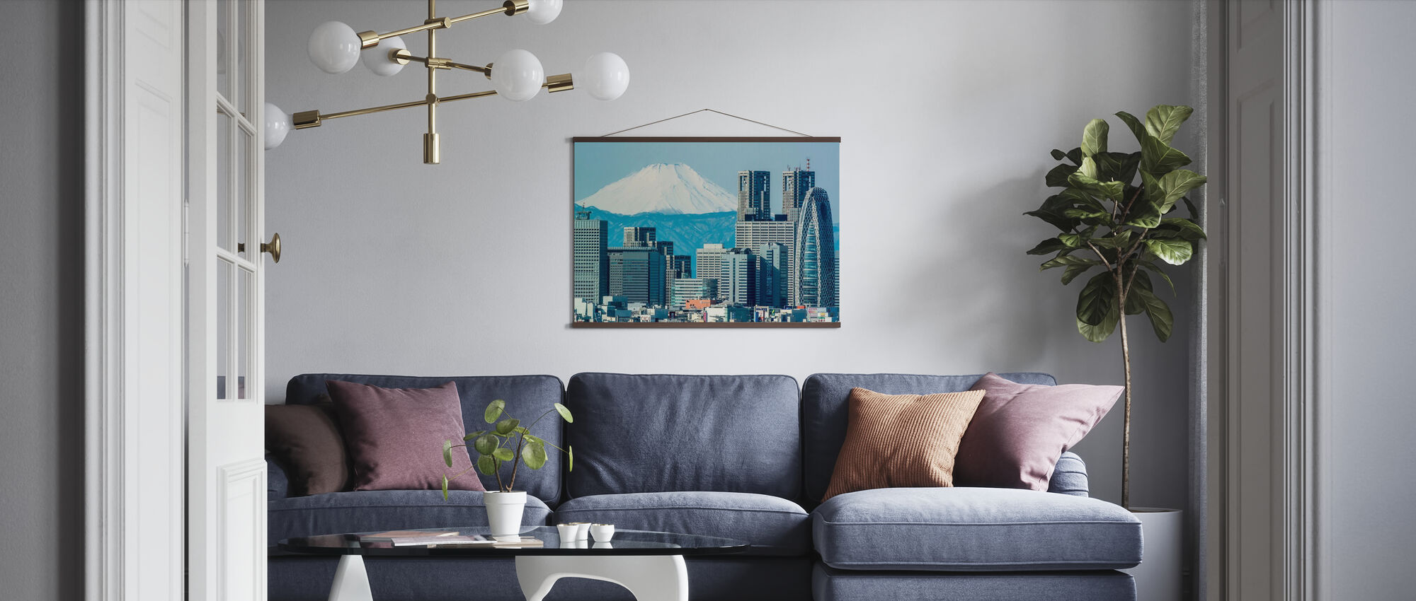 Fuji over Shinjuku - Poster - Living Room