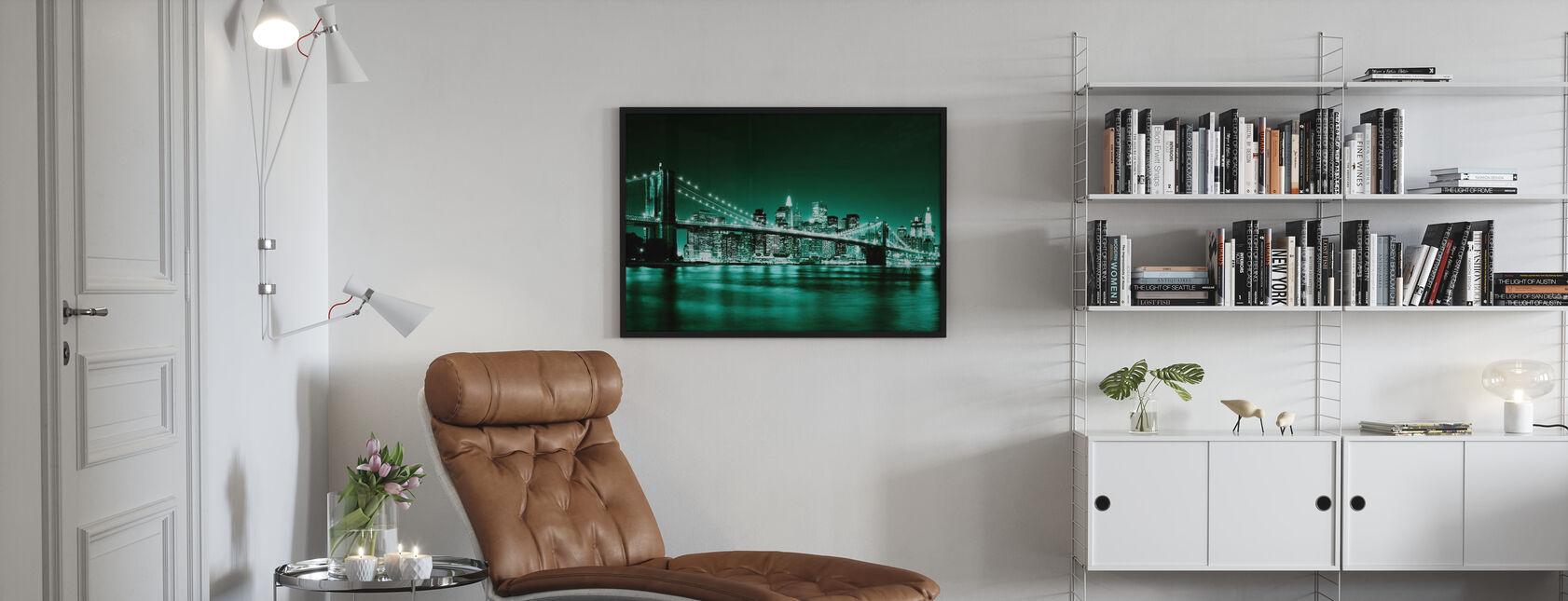 Brooklyn Bridge - Green - Framed print - Living Room