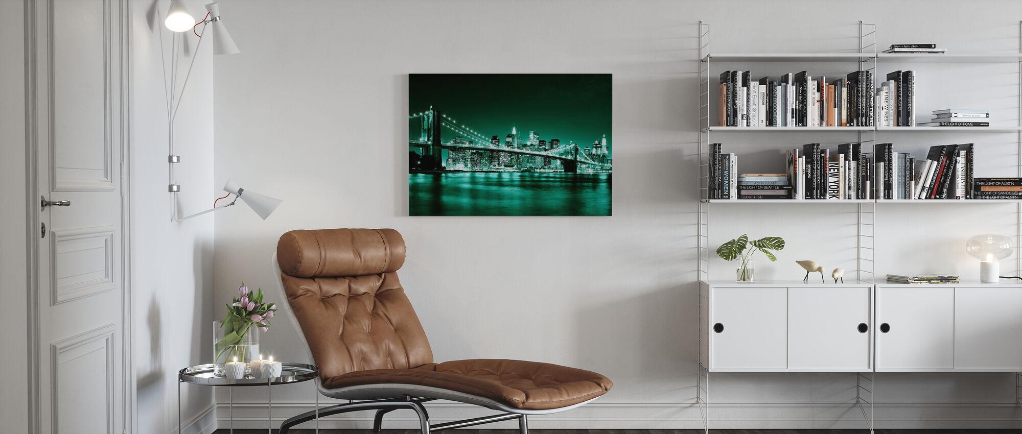 Brooklyn Bridge - Groen - Canvas print - Woonkamer