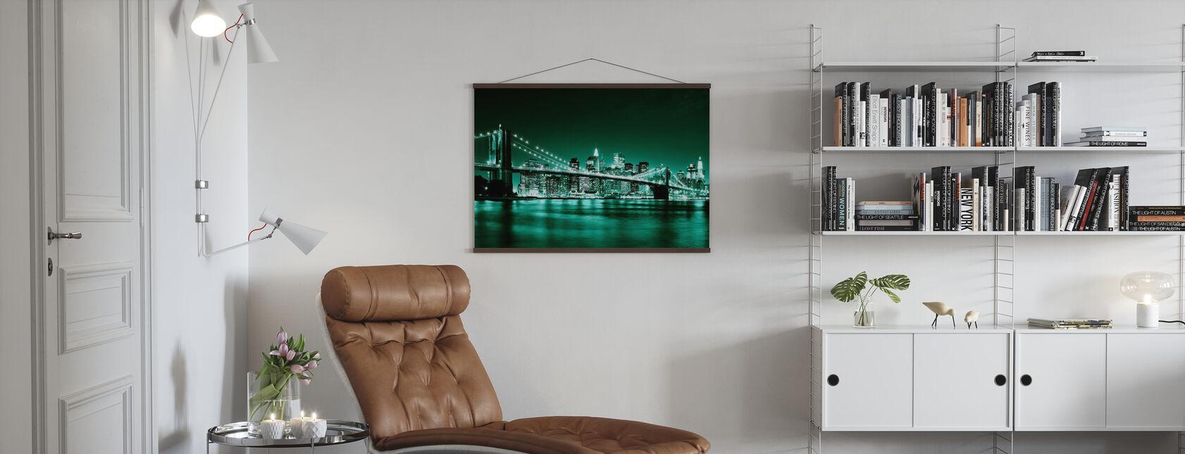 Brooklyn Bridge - Grøn - Plakat - Stue