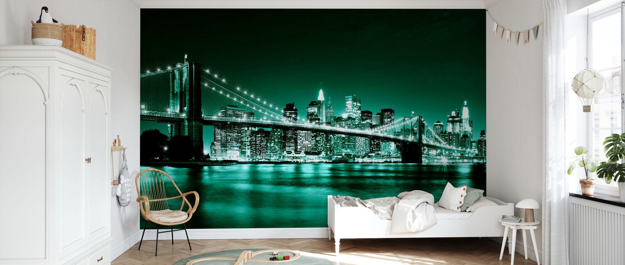 Brooklyn Bridge - Grün - Tapete - Kinderzimmer