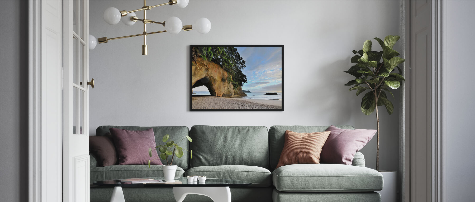 Rock Cave on the Beach - Framed print - Living Room