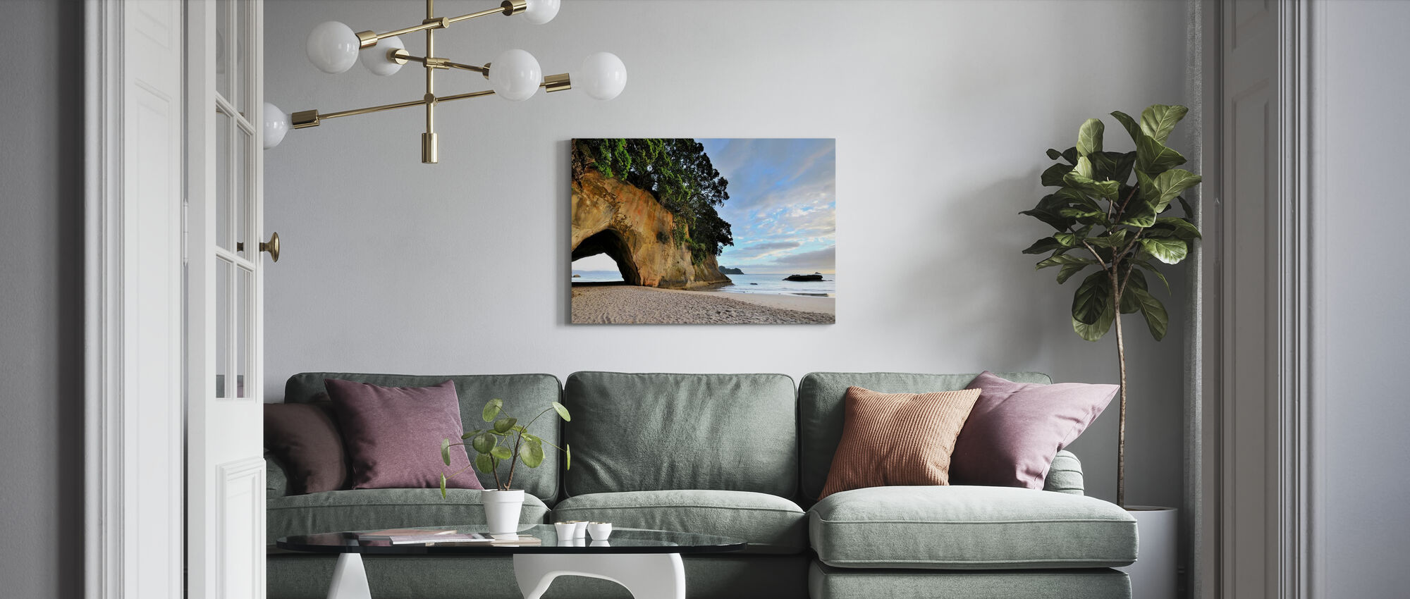 Rock Cave på stranden - Canvastavla - Vardagsrum